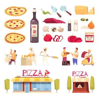 L'icona della pizza ha messo con il prodotto isolato per l'illustrazione di vettore della pizzeria e dei cuochi unici della creazione della pizza
