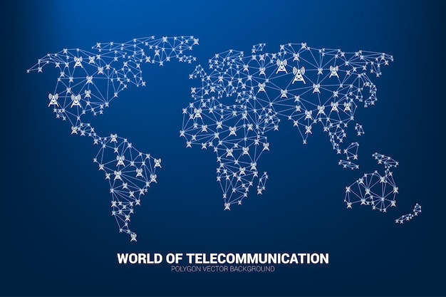 L'icona della torre dell'antenna poligono collega la linea alla forma della mappa del mondo.
