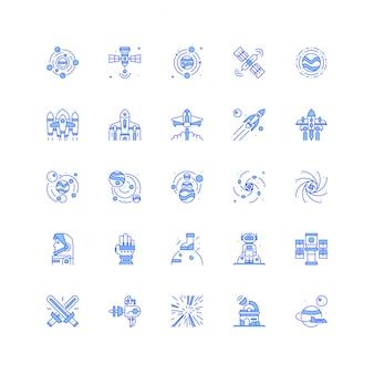 L'icona dello spazio ha messo con l'illustrazione di vettore dell'astronave del razzo e del pianeta