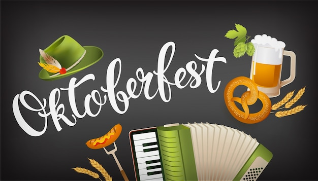 L'icona di oktoberfest ha messo l'insegna orizzontale con il cappello, la fisarmonica, la salsiccia, la ciambellina salata, il luppolo, bandiera a