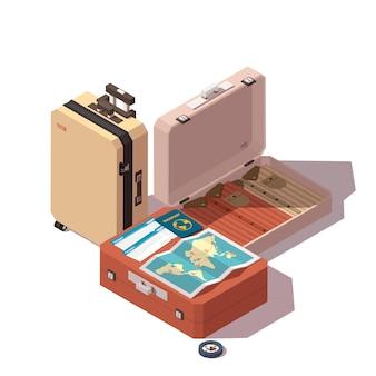 L'icona di viaggio o turismo include passaporto, biglietti, bagaglio passeggeri, mappa e bussola