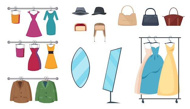 L'icona isolata e colorata dell'abbigliamento ha messo con gli elementi e attribuisce i vestiti sui ganci e sugli accessori