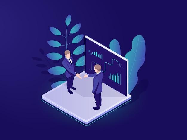 L'icona isometrica automatizzata del sistema analitico di affari, uomo d'affari tiene una riunione