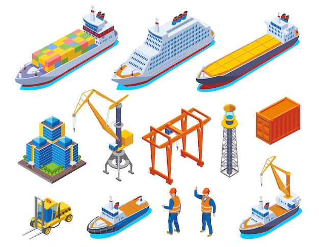 L'icona isometrica colorata porto marittimo ha messo con l'illustrazione isolata delle navi e degli operai delle gru delle barche