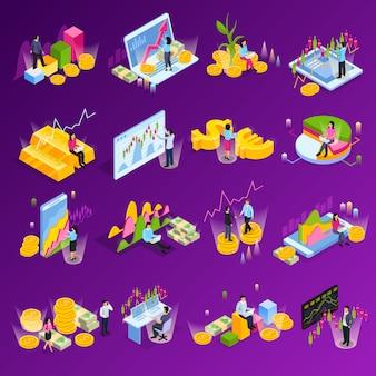 L'icona isometrica di borsa ha messo con tecnologia differente degli elementi di finanza dei grafici dei grafici nell'illustrazione di commercio