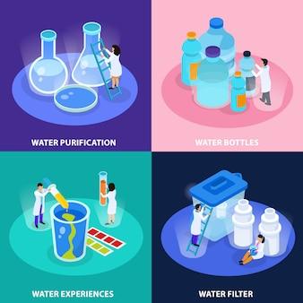 L'icona isometrica di purificazione dell'acqua ha messo con le esperienze delle bottiglie di acqua e l'illustrazione di descrizioni del filtro