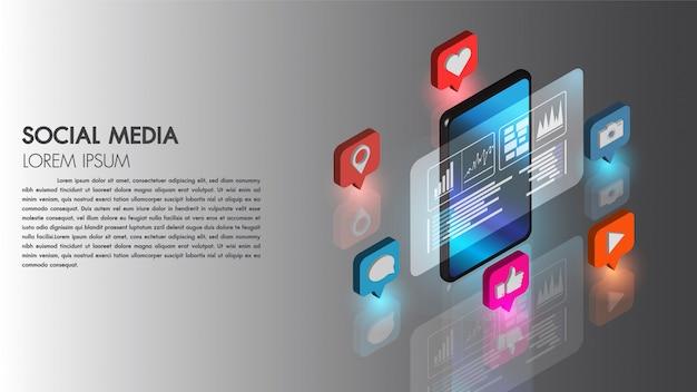 L'icona isometrica piana di vettore di concetto 3d di media sociale con tecnologia del telefono cellulare si collega