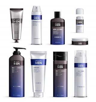 L'icona realistica colorata progettazione delle bottiglie dei cosmetici degli uomini ha messo con la linea blu e nera illustrazione del logos