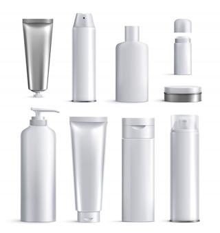 L'icona realistica delle bottiglie dei cosmetici degli uomini ha messo le forme e le dimensioni differenti per l'illustrazione di bellezza