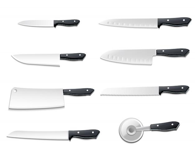 L'icona realistica isolata dei coltelli ha messo con le lame taglienti per l'illustrazione di vettore del pesce del pane della carne della pizza