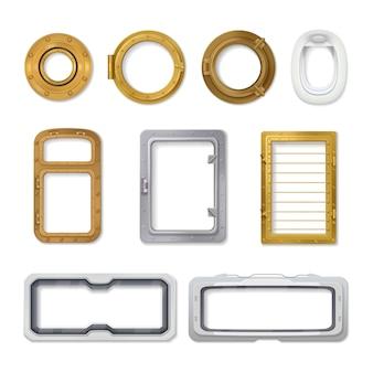 L'icona realistica isolata isolata dell'oblò ha messo nelle forme differenti e nei vari tipi di uso