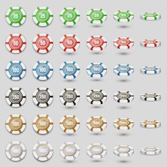 L'icona variopinta dei chip del casinò ha messo su un bianco con le tonalità trasparenti. fiches da gioco colorate in diverse angolazioni. 3d. illustrazione realistica dettagliata alta.