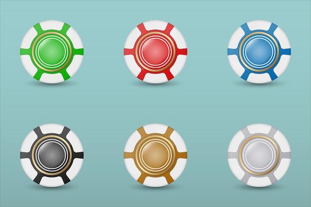 L'icona variopinta dei chip del casinò ha messo su un blu con le tonalità trasparenti. illustrazione.