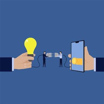 L'idea di collegamento dell'uomo d'affari al cellulare guadagna soldi online