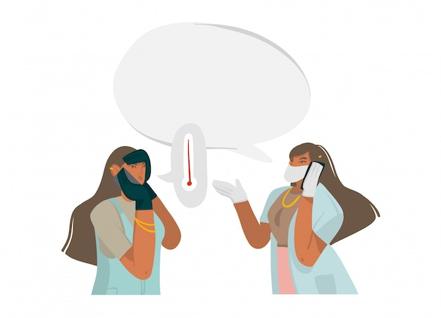 L'illustrazione astratta di riserva disegnata a mano con medico femminile dà le raccomandazioni per telefono, ben protetto in una maschera e guanti in ospedale su fondo bianco