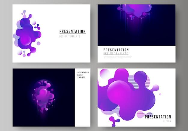 L'illustrazione astratta minimalista del layout modificabile delle diapositive di presentazione progetta modelli di business.