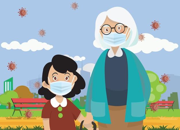 L'illustrazione dei bambini indossa una maschera di protezione medica .girl e la nonna indossano la maschera medica