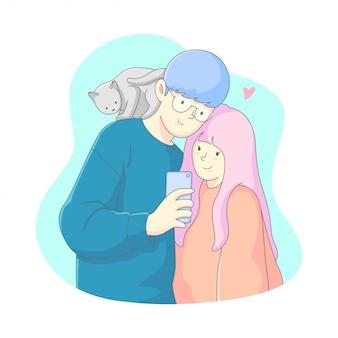 L'illustrazione del biglietto di s. valentino, giovane coppia prende un selfie insieme ad un gatto sopra l'uomo.