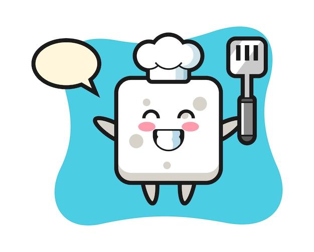 L'illustrazione del carattere del cubo dello zucchero come cuoco sta cucinando, stile sveglio per la maglietta, adesivo, elemento di logo