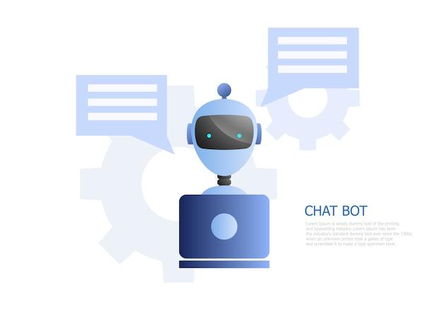 L'illustrazione del concetto del bot della chiacchierata, robot usa il computer portatile per chiacchierare e lavorare