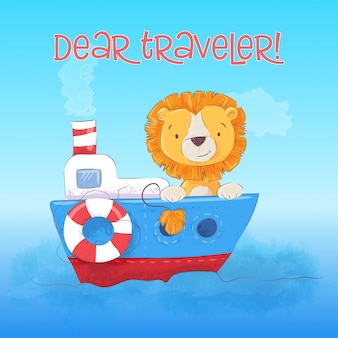 L'illustrazione del cucciolo di leone sveglio galleggia sulla barca. stile cartone animato vettore