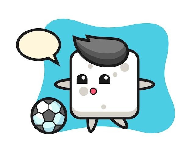 L'illustrazione del fumetto del cubo dello zucchero sta giocando a calcio, stile sveglio per la maglietta, autoadesivo, elemento di logo