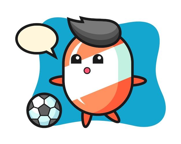 L'illustrazione del fumetto della caramella sta giocando a calcio