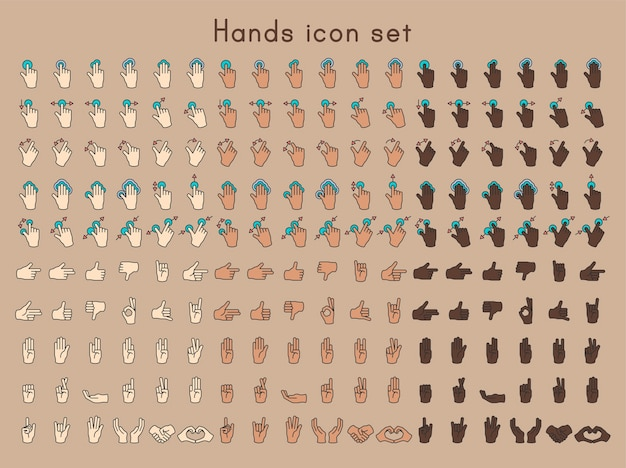 L'illustrazione del gesto di mani ha impostato nella linea sottile