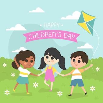 L'illustrazione del giorno dei bambini felici con i bambini gioca nel parco