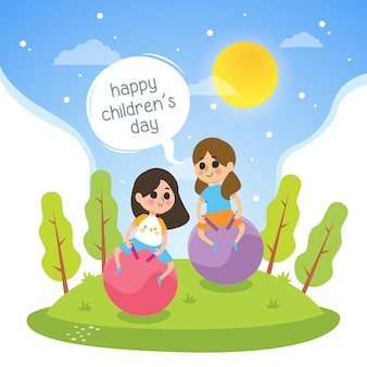 L'illustrazione del giorno dei bambini felici con le ragazze gioca in parco