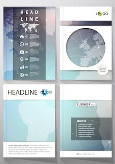 L'illustrazione del layout modificabile di quattro copertine in formato a4 con i modelli di design del cerchio per brochure, riviste, flyer. struttura della molecola, linee e punti di collegamento.