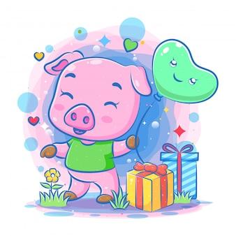 L'illustrazione del maiale rosa usa i vestiti verdi dell'illustrazione