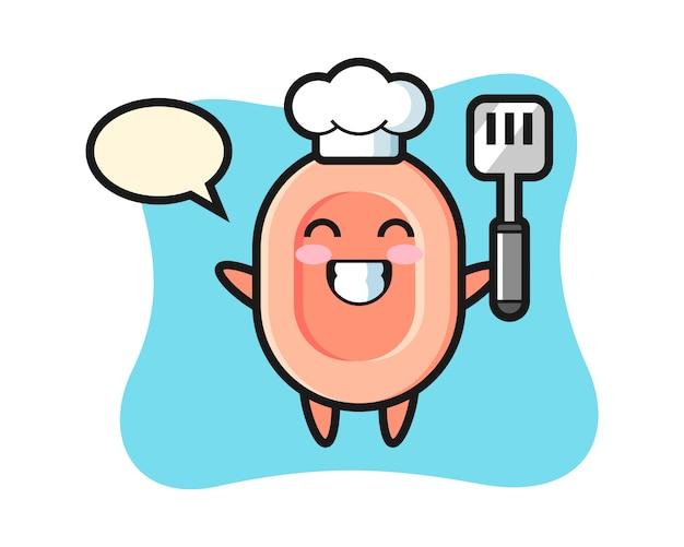 L'illustrazione del personaggio del sapone come chef sta cucinando, stile carino per maglietta, adesivo, elemento logo