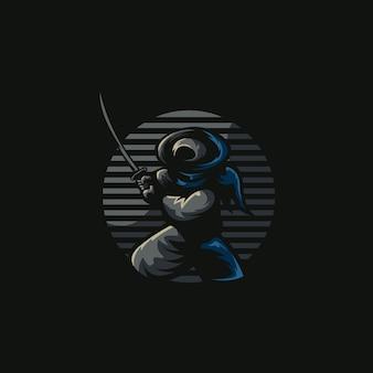 L'illustrazione del samurai di ninja esporta il logo