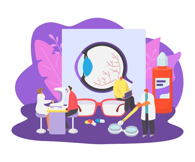 L'illustrazione dell'illustrazione della medicina di oftalmologia, la gente minuscola dei pazienti del fumetto visita il carattere di medico dell'oftalmologo, controlla la salute dell'occhio