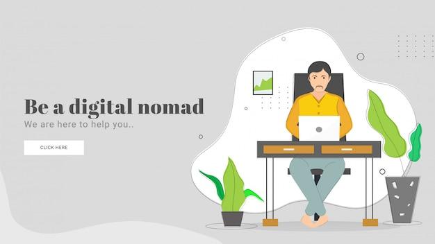 L'illustrazione dell'uomo che lavora in computer portatile sul posto di lavoro per è una progettazione della pagina di atterraggio basata concetto nomade digitale.