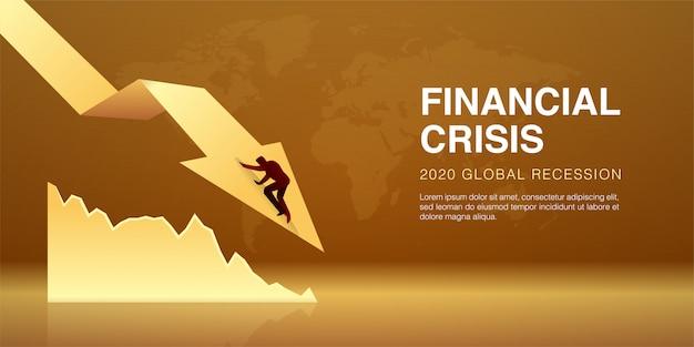 L'illustrazione dell'uomo d'affari cade sulla freccia decrescente in segno della crisi economica, impatto dell'epidemia di coronavirus. la recessione globale dei prezzi delle azioni è crollata