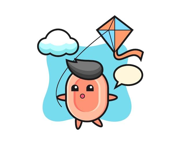 L'illustrazione della mascotte del sapone sta giocando l'aquilone, stile carino per maglietta, adesivo, elemento logo