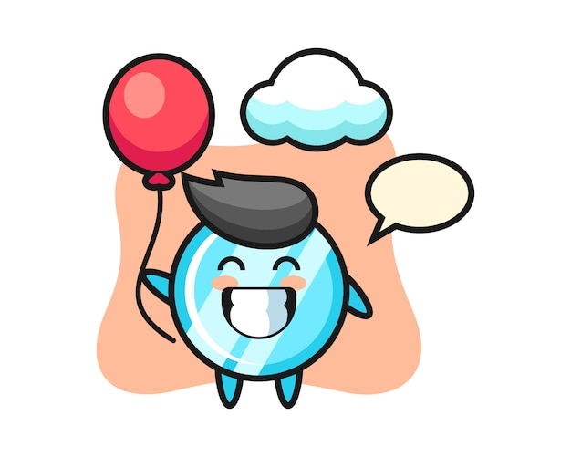 L'illustrazione della mascotte dello specchio sta giocando a palloncino