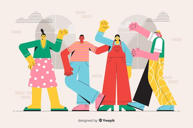 L'illustrazione della pagina di destinazione incontra il concetto del gruppo di aou