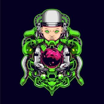 L'illustrazione di baby mecha astronauta