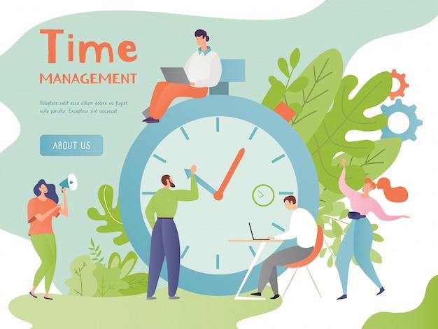 L'illustrazione di concetto della gestione di tempo, la gente minuscola piana del fumetto controlla il tempo di lavoro, caratteri occupati della donna dell'uomo con la grande sveglia