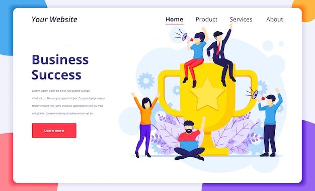 L'illustrazione di concetto di successo di affari, collaborazione celebra il successo vicino ad un trofeo dorato gigante per la pagina di destinazione del sito web