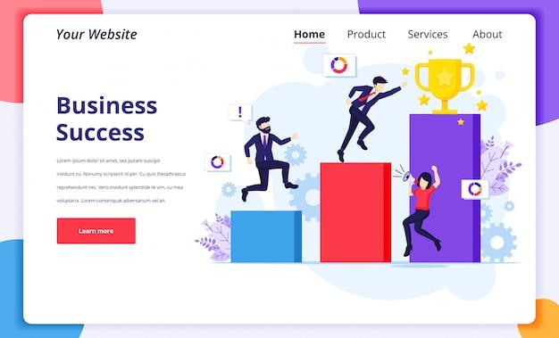 L'illustrazione di concetto di successo di affari, uomini d'affari passa fino alla tazza dorata del trofeo per il loro successo per la pagina di destinazione del sito web