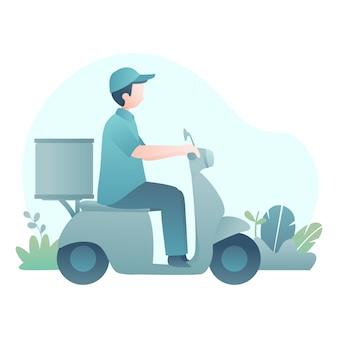 L'illustrazione di consegna con un motorino di guida dell'uomo consegna il pacchetto