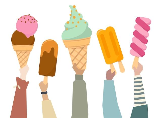 L'illustrazione di diverse persone che tengono i gelati colorati