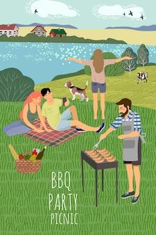 L'illustrazione di equipaggia e womans che riposa sulla natura contro lo sfondo del paesaggio rurale