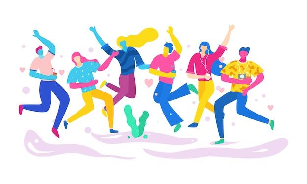 L'illustrazione di giovani sta festeggiando e divertendosi insieme. colorato. vettore