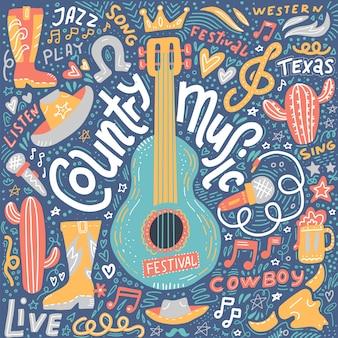 L'illustrazione di musica country ha messo per le cartoline o le insegne di festival
