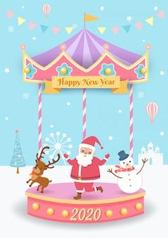L'illustrazione di natale con il babbo natale, la renna e il pupazzo di neve che gioca allegro va in tondo